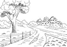Rural road graphic black white village landscape sketch illustration vector. Rural road graphic black white village landscape sketch illustration Stock Photos