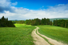 Rural road and green field in Beskidy Mountains in summer, Polan Stock Photo
