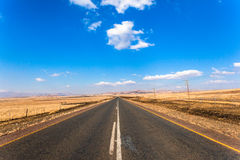 Rural Road Landscape. Rural countryside road plateau late winter afternoon empty scenic landscape spaces Stock Photo