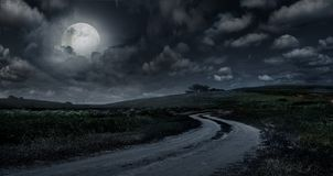 Rural road through the meadow at night royalty free stock photography