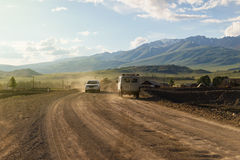 Rural road in the mountains. Republic Altai Royalty Free Stock Images
