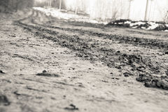 Rural road with mud Royalty Free Stock Photography