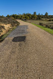 Rural Road with Potholes Royalty Free Stock Photos