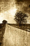 Rural road in sepia vintage style stock photography