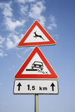 Rural Road Signs in Europe Royalty Free Stock Photo