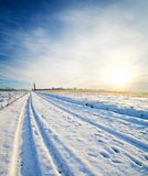 Rural road with snow Royalty Free Stock Images
