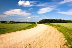 Rural road (summer). Not asphalted rural rural road to summertime of year. Belarus Royalty Free Stock Image