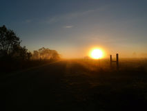 Rural road at sunrise with fence line and posts Stock Photo