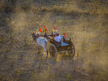 Rural road at sunset in Bagan, Myanmar. An ox cart runs on the rural road in Bagan, Myanmar. Bagan is an ancient city in central Myanmar formerly Burma Royalty Free Stock Image