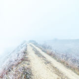 Rural road to horizon in fog Stock Images