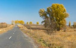 Rural road in Ukraine at fall season Royalty Free Stock Images
