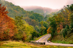 A rural road in Virginia. Highway near Front Royal, West Virginia during the Fall stock photos