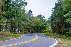 A rural road in Virginia. Highway near Front Royal, West Virginia during the Fall stock image