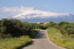 Rural Road And Volcano Etna Royalty Free Stock Image