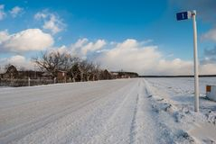 Rural road in winter Stock Photography
