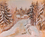 Rural road in the winter. In coniferous wood Royalty Free Stock Image