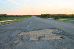 Rural roads damaged. Close up of rural roads damaged Royalty Free Stock Photo