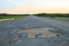 Rural roads damaged Royalty Free Stock Photo