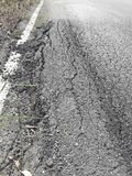 The rural roads deteriorate. The damaged roads in rural areas that require repair Royalty Free Stock Images