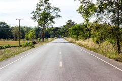 Rural Roads Landscape,tree along the way Royalty Free Stock Photo