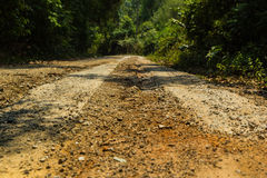 Rural roads. In Underdeveloped country,Thailand Royalty Free Stock Photo