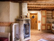 Rural Room with Chimney. Rural empty room with chimney royalty free stock image