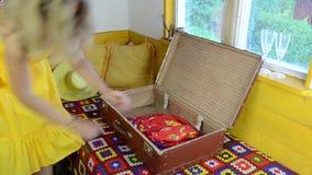 Rural room suitcase stock video footage