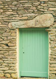 Rural Rustic Slate/Stone Farm Building Green Wooden Door Stock Photos