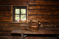 Rural sauna. Wall and window Royalty Free Stock Photography