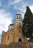 Rural scene with an old church. Orthodox church in Bulgarian countryside, general view Royalty Free Stock Image