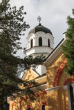 Rural scene with an old church. Orthodox church in Bulgarian countryside, general view Stock Photo