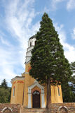 Rural scene with an old church. Orthodox church in Bulgarian countryside, general view Stock Image
