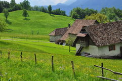 Meadows and barn in the Carnia region, Friuli, Italy Stock Photo