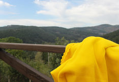 Rural scene with а blanket. Rural scene with а yellow blanket Royalty Free Stock Photography