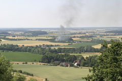Rural scene and fire Stock Image