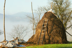 Rural scene haystack Stock Photos