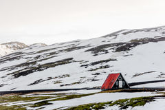 Rural scene in Iceland. Open landscape with a small house in rural Iceland in winter Stock Photo