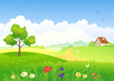 Rural scene. Illustration of a beautiful country landscape Royalty Free Stock Photos
