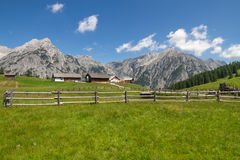 Rural Scene with Mountain Range in Background. Alps, Austria Royalty Free Stock Photography