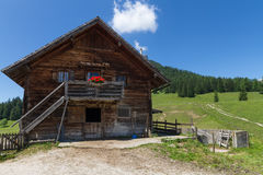 Rural scene with old alpine hut near Walderalm. Alps, Austria, Tirol Royalty Free Stock Photography