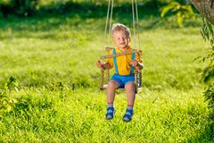 Rural scene with toddler boy swinging outdoors. Stock Images