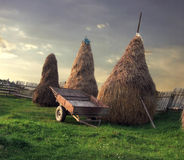 Rural scenery. Three haystacks and a cart standing on a field Stock Photos