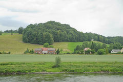 Rural scenery on elbe riverside in germany Stock Photos