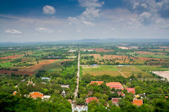 Rural scenery when viewed from a high angle. To the terrain as a whole Royalty Free Stock Images