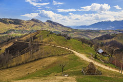 Rural Scenery With Traditional Houses And Haystock In Magura Village,Transylvania Region, Romania. Royalty Free Stock Image