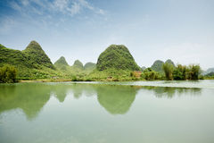 Rural scenery in yangshuo. Beautiful karst landform with rural scenery in yangshuo, China Royalty Free Stock Photography