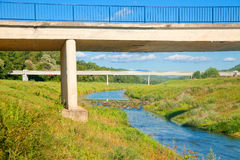 Rural scenic with a bridge Stock Images