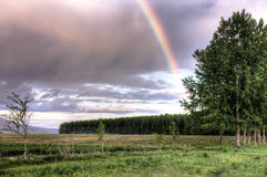 Rural Scenic With A Rainbow. Stock Photo