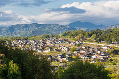 Rural Settlement of Nakatsugawa in Gifu Prefecture, Japan. High Viewpoint of the rural city of Nakatsugawa in the Tono region of Gifu prefecture, Japan Royalty Free Stock Photography