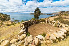 Rural settlements on Island of the Sun, Titicaca Lake, Bolivia Royalty Free Stock Photos